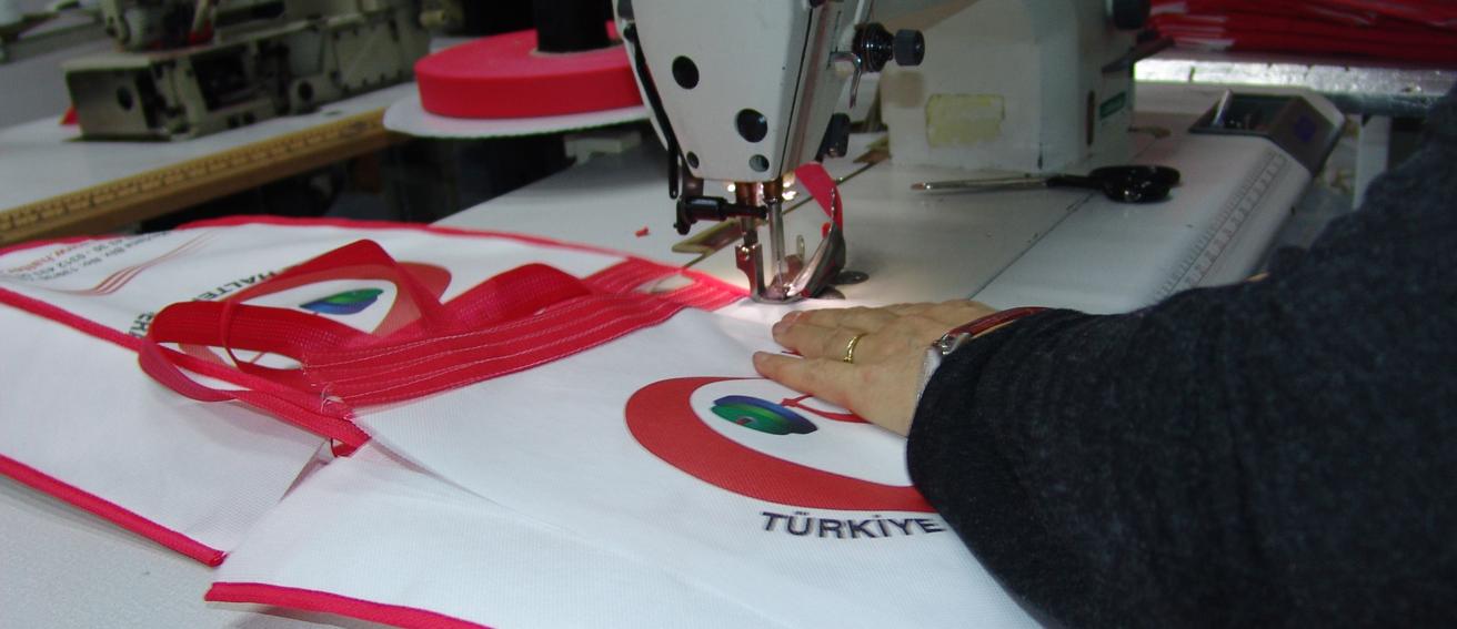 nonwoven tekstil el dikişli çanta üretim 007